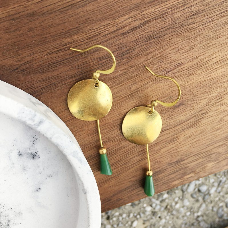Laolin groceries Travelin-handmade brass earrings wave copper glaze ear hook l ear pin l ear clip