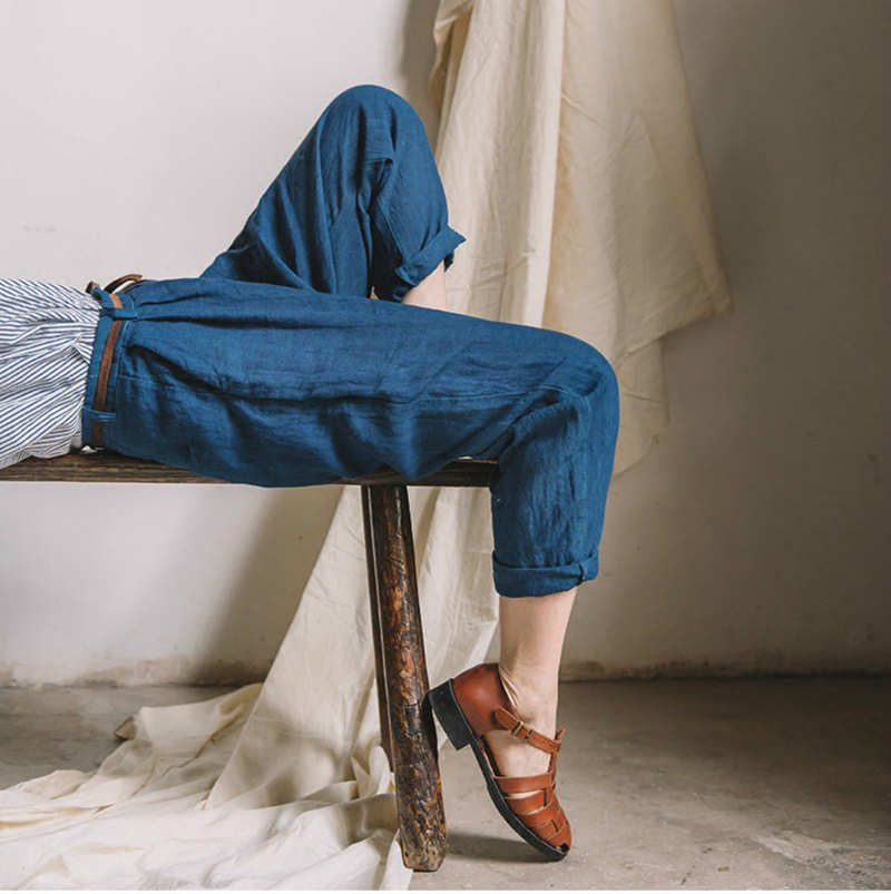 Free nature | natural plant ancient method blue dyed pure linen loose radish pants spring tapered pants