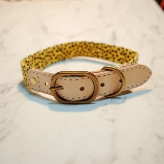 Dog collar L number leopard yellow small floral leopard pattern can be pulled on the leash can add tag
