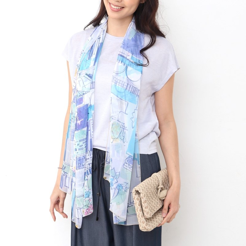Ballett elegant chiffon scarf of cityscape printed made in Japan