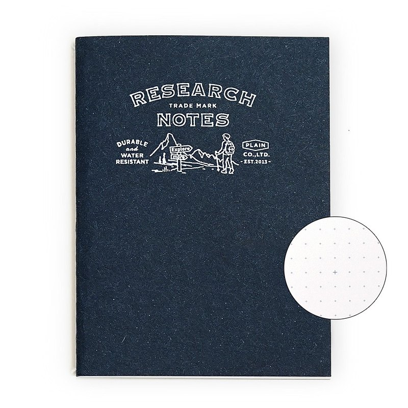 RESEARCH NOTES Waterproof notebook small pure white paper blue dots