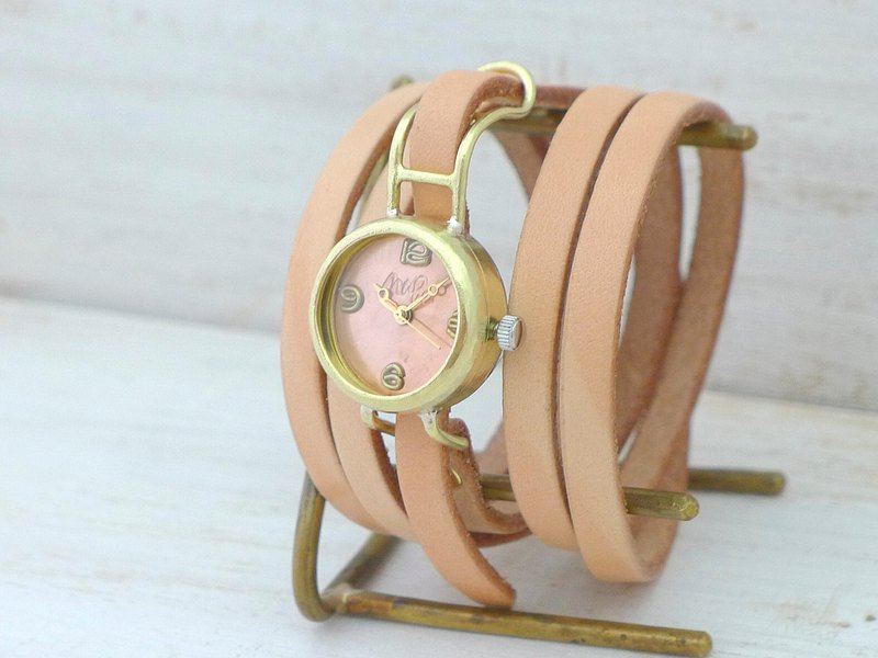 """Coil1-B"" Lady's22mm Brass 5 double winding leather belt handmade watch (45A Nume)"