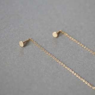 [Silver925] round chain earrings [gold]