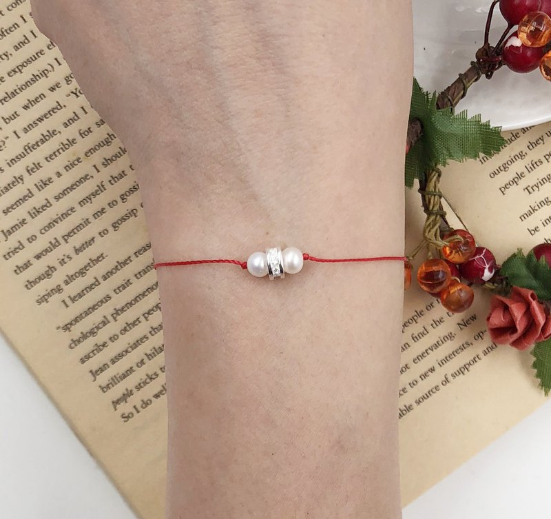 *Le Bonheur Line 幸福線* 天然珍珠 + 925純銀環鑽 / 紅線 氣質 高貴 手鍊 手線 手繩 無限 姻緣 珍珠 紅繩 細線