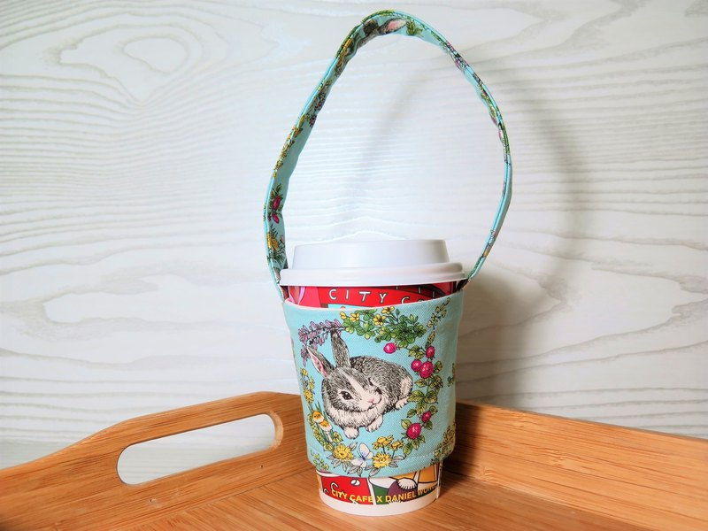 Rabbits in the wreath (blue) / green drink cup sets. Bags. New measures for plastic restrictions.