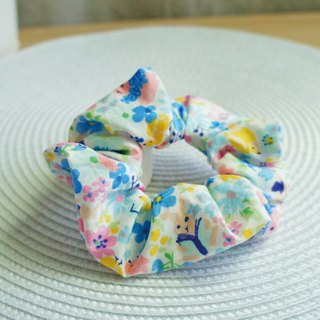 Lovely [Japanese cloth] garden bunny hair bundle, large intestine circle, donut hair bundle [blue]