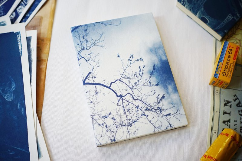 Handmade Blue Sun Notebook - A5 Large Size - Winter Tree Shadow