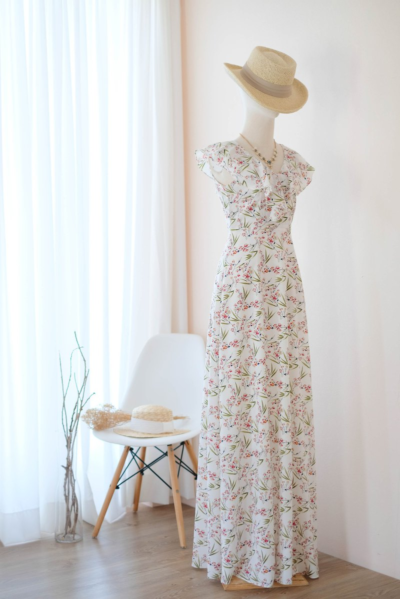 White floral dress Maxi ruffle floor length bridesmaid party Cocktail sundress