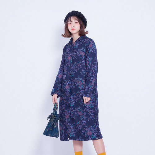 Corsage Italian _ ancient flower shirt coat - Purple Taiwan Design (with green bags)