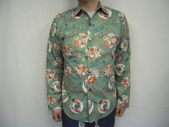 Long-sleeved shirt Japanese Pattern (crane A pattern in Qinghai wave)