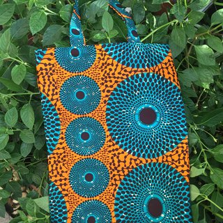 [African love] African flower cloth blue green / shoulder bag / side back bag / bag