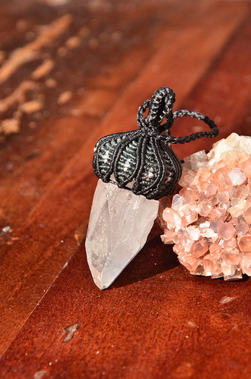 Pencil stone Crystal Quartz Macrame Pendant