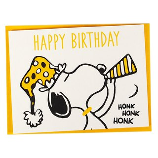 Snoopy Holds Yellow Party Cheers (Hallmark-Peanuts - Snoopy - Stereo Card)