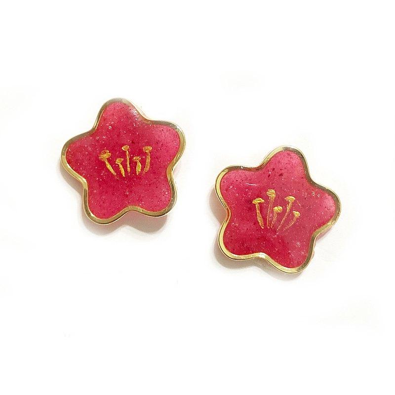 日本樹脂紅色花朵手繪耳環(可改夾)