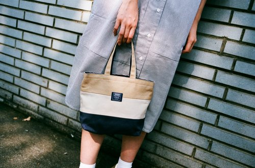 Tote bag (drink double cup) _ khaki white and dark blue