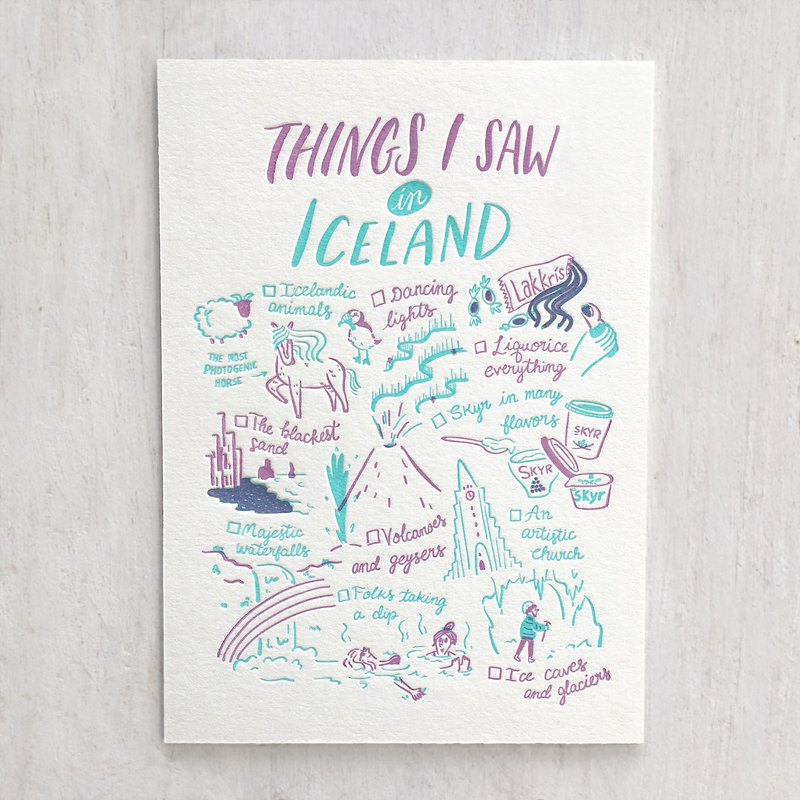 Things I Saw in Iceland Letterpress Postcard