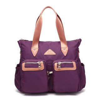 Lightweight large capacity water repellent handbag / Crossbody / storage bag / purple - # 1012