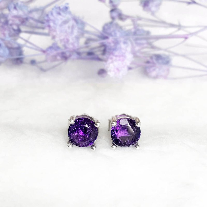 |Silver Jewelry | Natural Amethyst S925 Simple Temperament Stud Earrings (Adjustable Ring/Gemstone)