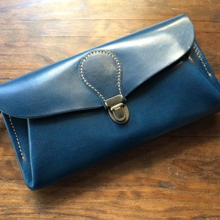 "Genuine leather wallet ""series-envelope"" marine blue"