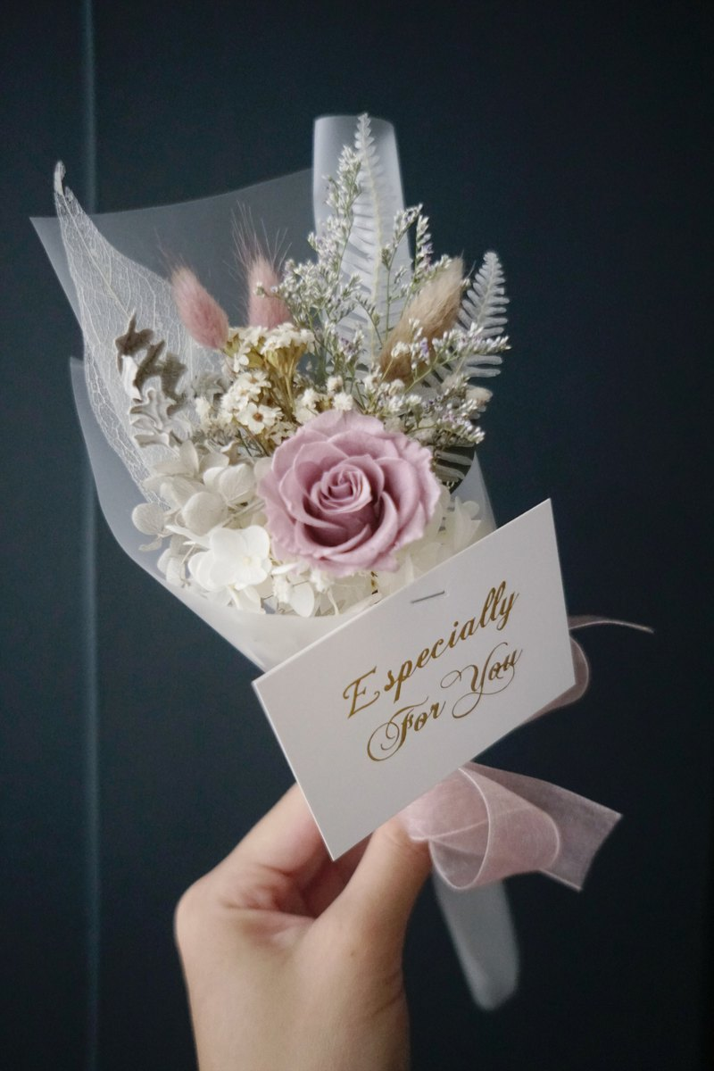 Sincere blessing Graduation Bouquet Eternal Flower Flower Withered Dry Flower Smoked Purple Rose Hydrangea Bouquet With Card
