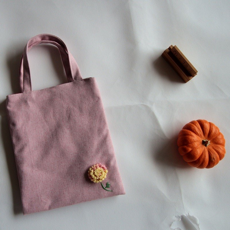 Cotton Fabric: Canvas  bag,Knitting flower,Pink