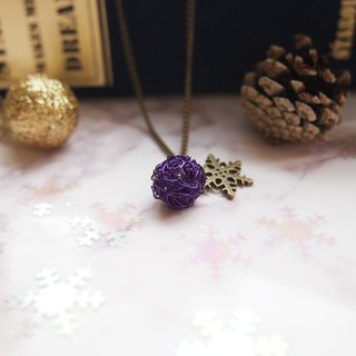 Simple round wonderful hand-woven purple copper copper ball with snowflake pendant necklace sub-MP056