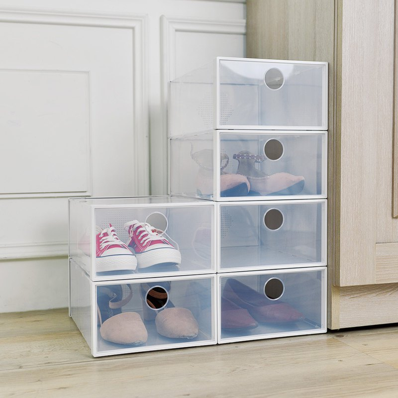 Japan Tianma front open deodorant cascading transparent shoes storage box 6 into