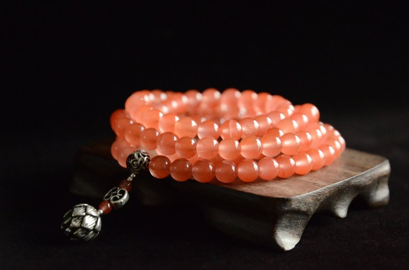 [若耶] South Red Agate Cherry Red 108 Beads Bracelet Necklace Dual-use