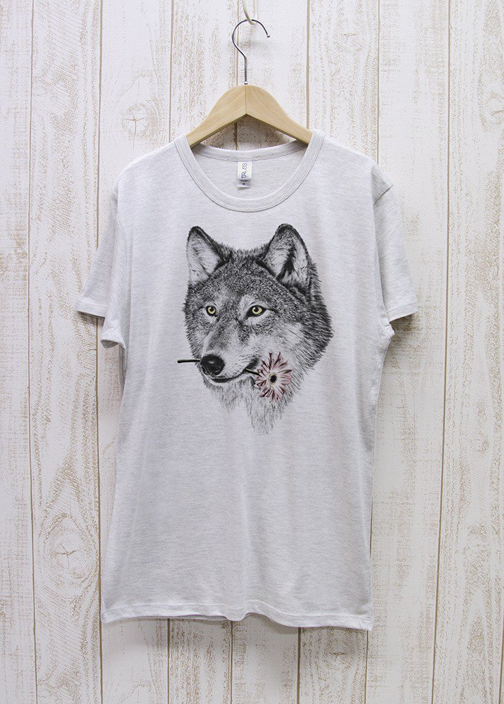 ronronWOLF Tee Here you go ヘザーホワイト / R027-TT-HWH