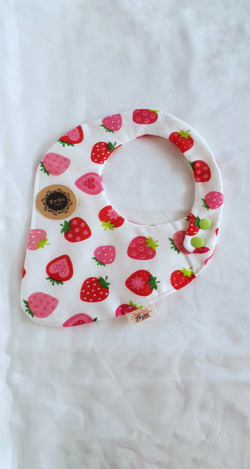 Strawberry Daifuku - Rice White - Eight Layers 100% Cotton Double Sided Strawberry Bib. Saliva Towel