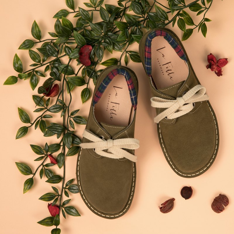 Japanese sweet suede big toe shoes_ olive green