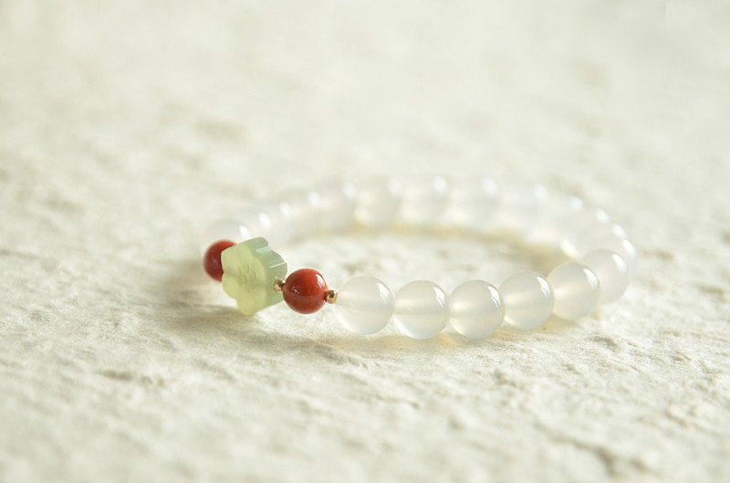 [Flower Collection] Natural Heather Red Agate Litchi Freeze Spring Bracelet