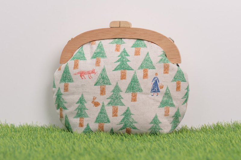 The fairy tale in the forest # green # small / wooden gold package / retro Messenger bag / portable bag