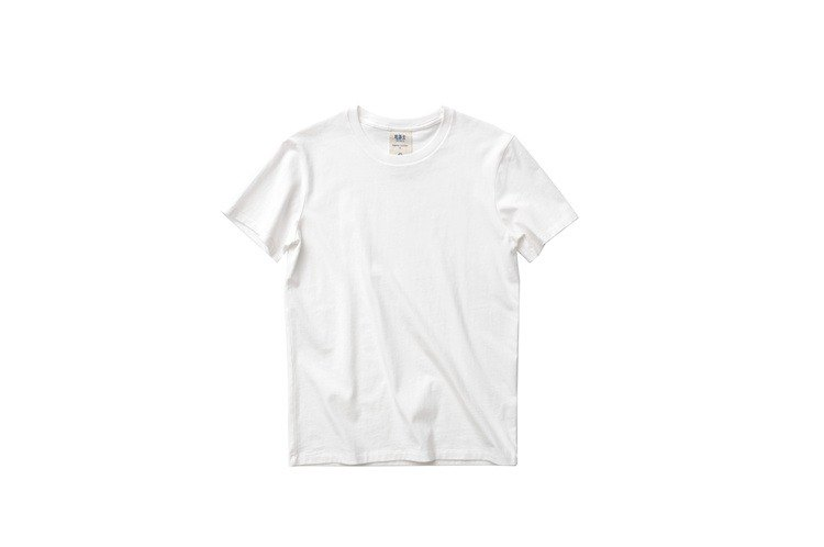 Eat tea to blue label organic cotton T-shirt round neck short sleeve white