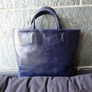 Hand style tote bag dark blue gem