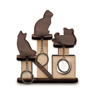 Cat jumping platform - wooden key ring pylon group (three into the money) - key / storage / wall hanging