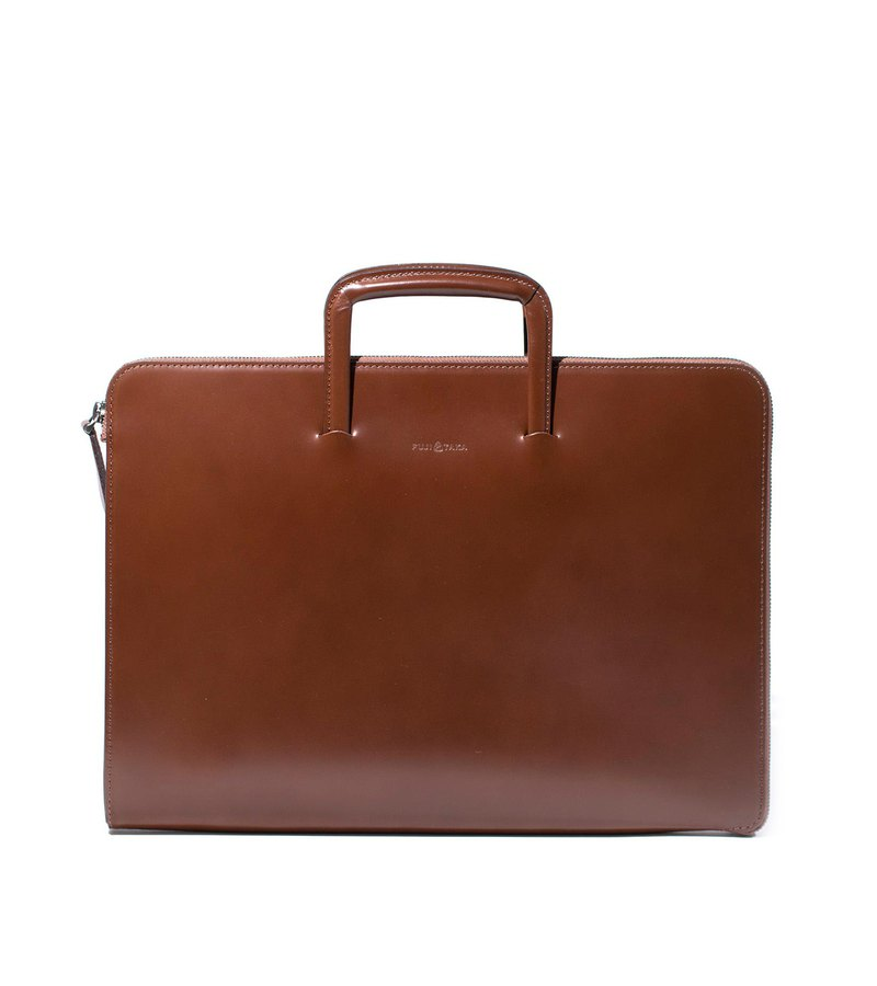 FUGA Swedish Leather A4 Vintage 2WAY Briefcase-Brown