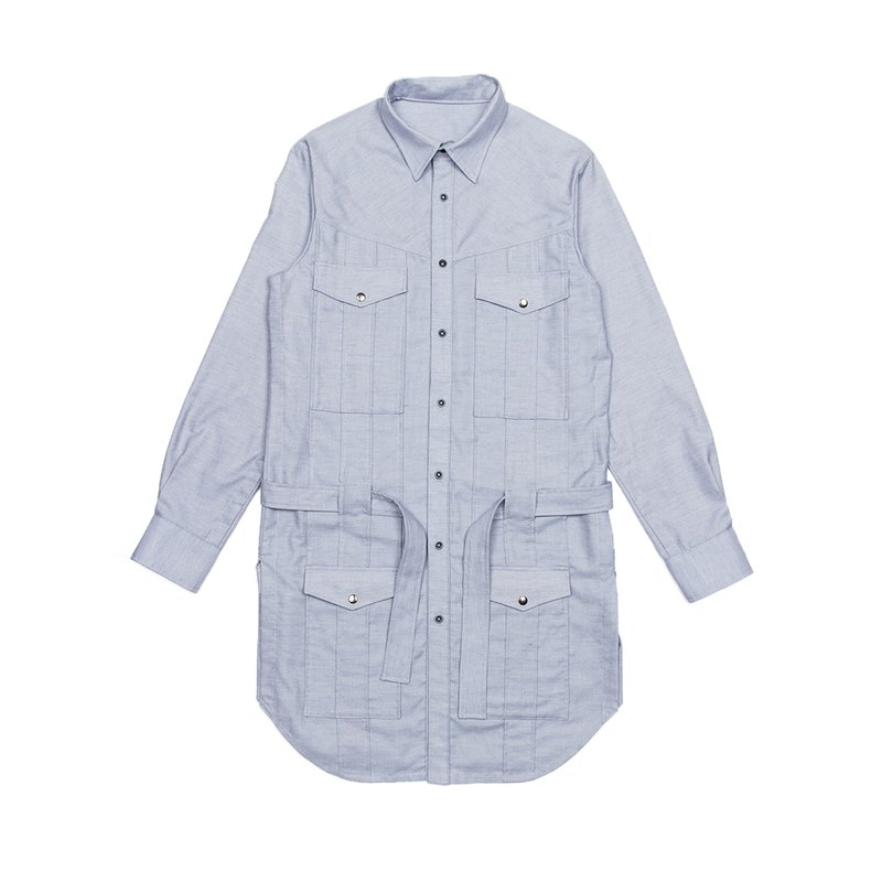 Windbreaker multi-pocket shirt - GREYISH BLUE