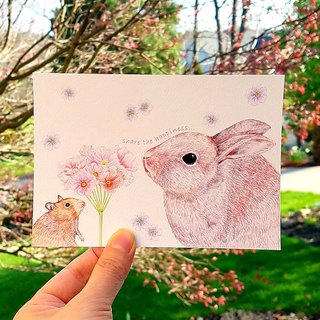 Postcard - rabbit and mouse flowers