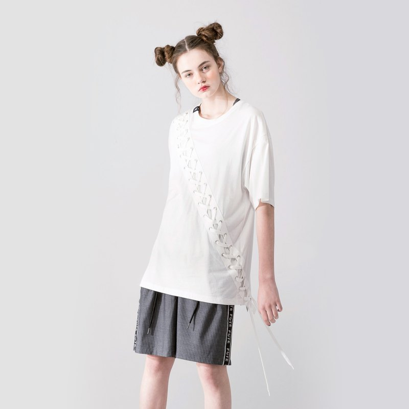 UNISEX LACE UP T SHIRT / Creamy White
