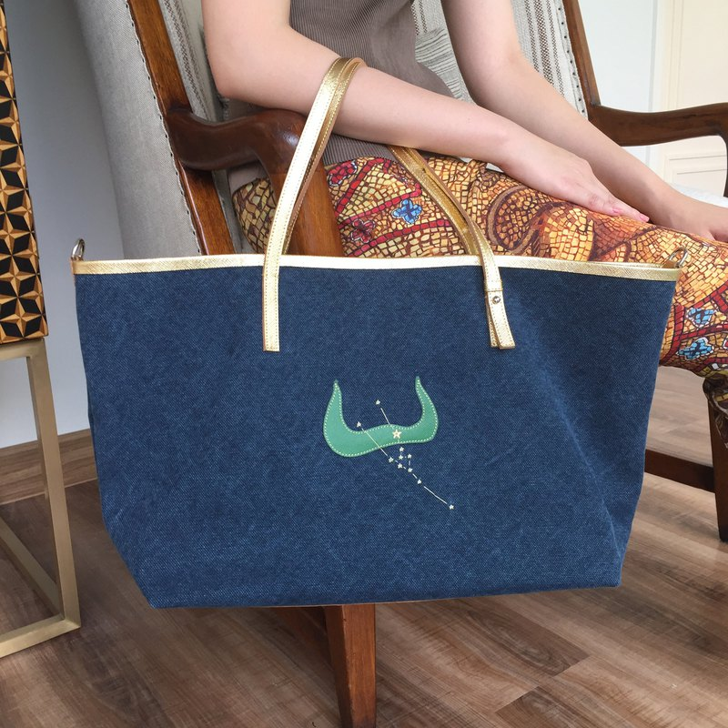 Taurus Zodiac Tote, Canvas and Leather Zipped Top Handle Personalised Holdall