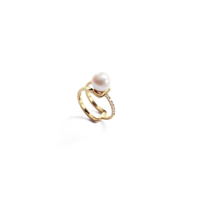 Classic Pearl Diamond Ring 925 Silver Thick Plated 18K Gold Merge P/D Ring-Gold