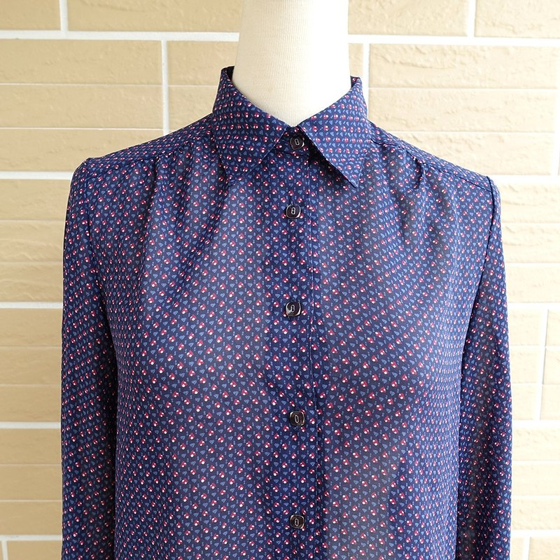 │Slowly│ blue purple meet - vintage shirt made in Japan │vintage. Vintage.