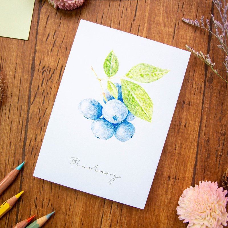 Hand Drawn Fruit Postcard - Blueberry