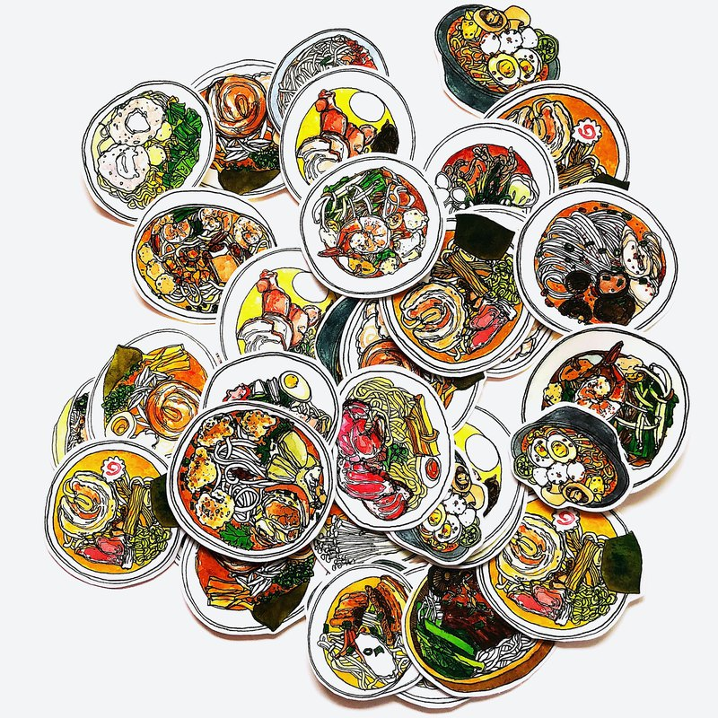 Original Design Ramen Series Stickers 16 Pieces