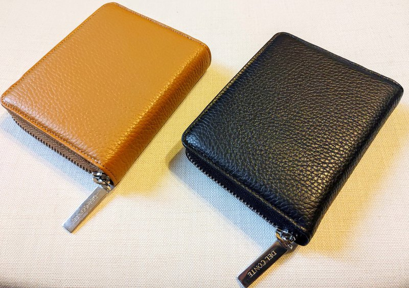 Litchi leather will have two fold short clips (Mustard Yellow / Vermiculite Black)