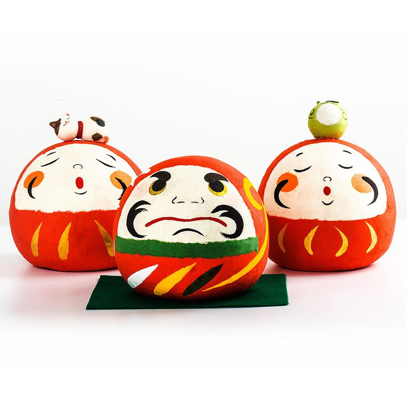 Japanese made Kyoto Dragon Tiger and Paper Daifu frog lucky cat Dharma big ornaments birthday opening housewarming gift