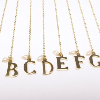 """Two silver"" [brass English alphabet hanging earrings] (one pair)"