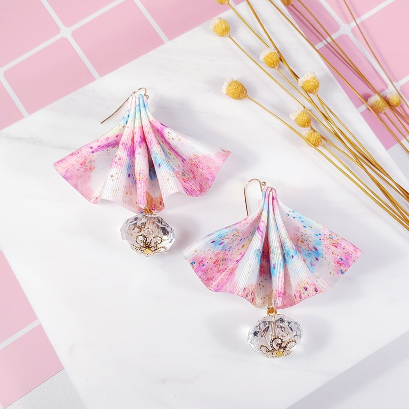 Daqian Design Rainbow Oil Color Fan Skirt Satin Ribbon Earrings/Clip Gift Valentine's Day