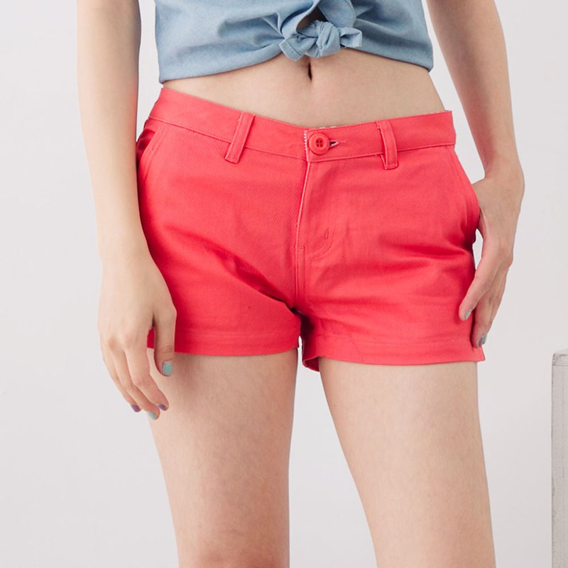 Saturated Solid Color Elastic Diagonal Pocket Low Waist Fit Shorts - Plum Red